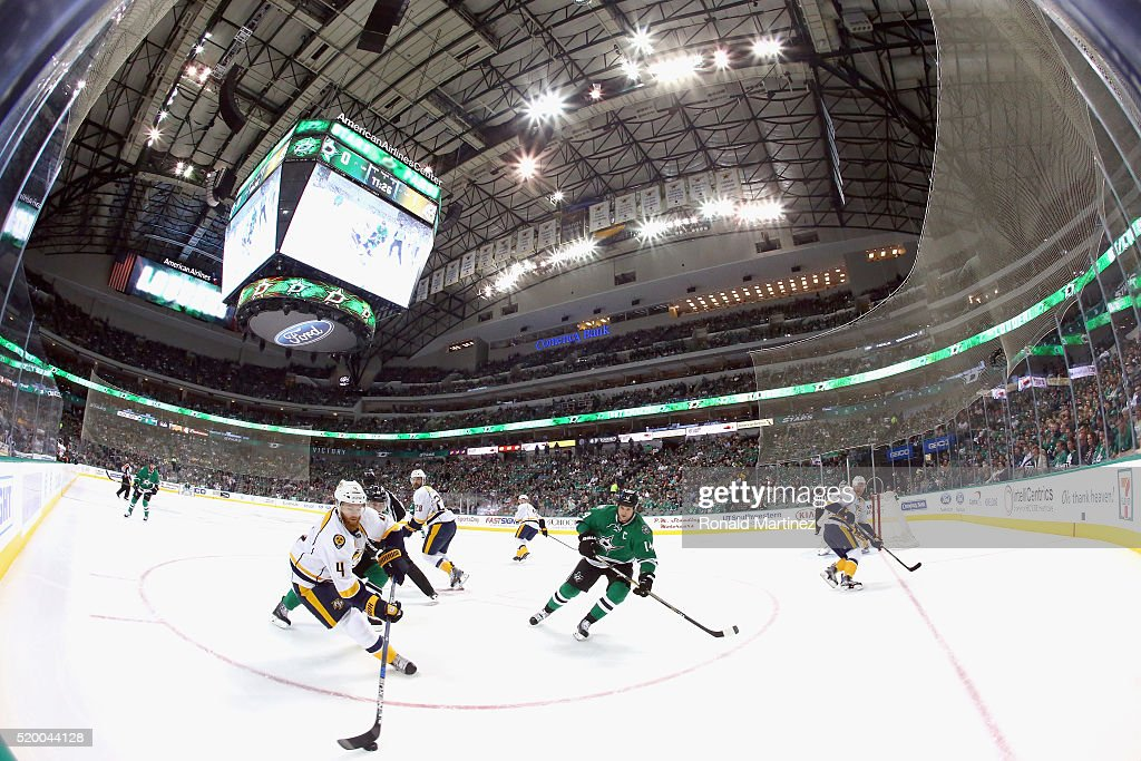 Ryan Ellis #4 of the Nashville Predators skates the puck against the Dallas Stars in the first period at American Airlines Center on April 9, 2016 in Dallas, Texas.