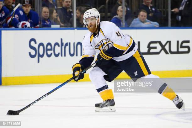 Ryan Ellis of the Nashville Predators skates with the puck against the New York Rangers at Madison Square Garden on February 9 2017 in New York City...