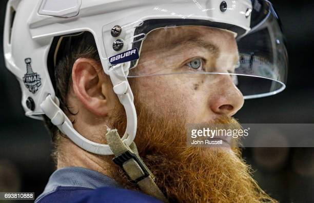Ryan Ellis of the Nashville Predators watches morning skate prior to Game Five of the 2017 NHL Stanley Cup Final against the Pittsburgh Penguins at...