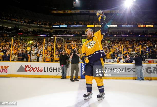 Ryan Ellis of the Nashville Predators waves to fans as First Star of the Game after a 21 win against the St Louis Blues in Game Four of the Western...