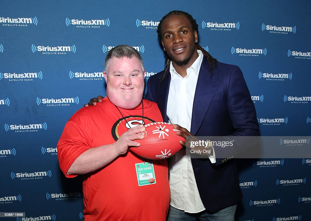 Ryan Epidendio (L) and <a gi-track='captionPersonalityLinkClicked' href=/galleries/search?phrase=Jamaal+Charles&family=editorial&specificpeople=2122501 ng-click='$event.stopPropagation()'>Jamaal Charles</a> of the Kansas City Chiefs visit the SiriusXM set at Super Bowl 50 Radio Row at the Moscone Center on February 5, 2016 in San Francisco, California.