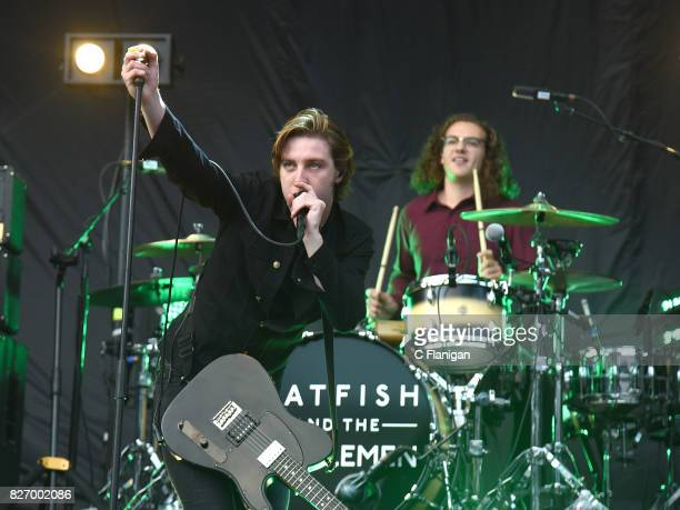 Ryan Evan 'Van' McCann and Drummer Bob 'Sideshow Bob' Hall of Catfish and the Bottlemen perform during the 2017 'Radio Revolution' Tour at...