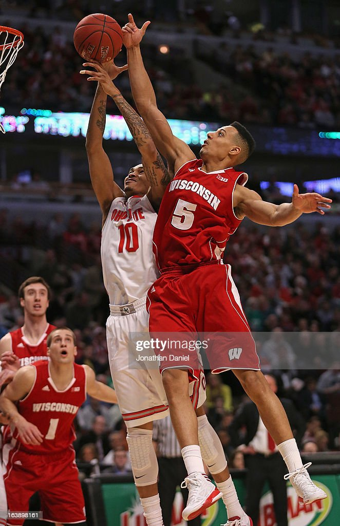 Ryan Evans #5 of the Wisconsin Badgers blocks a shot by LaQuinton Ross #10 of the Ohio State Buckeyes during the Big Ten Basketball Tournament Championship game at United Center on March 17, 2013 in Chicago, Illinois. Ohio State defeats Wisconsin 50-43.