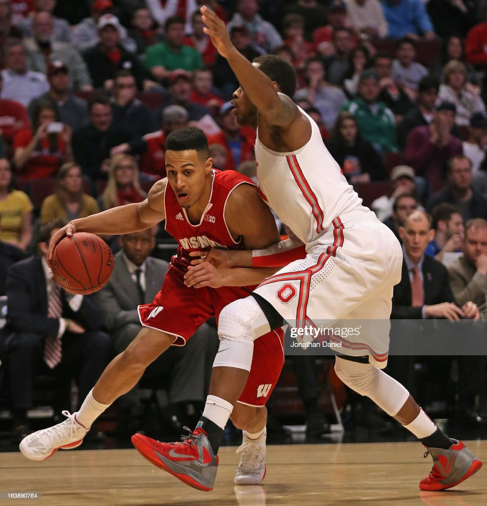 Ryan Evans #5 of the Wisconsin Badgers dribbles against Deshaun Thomas #1 of the Ohio State Buckeyes during the Big Ten Basketball Tournament Championship game at United Center on March 17, 2013 in Chicago, Illinois.