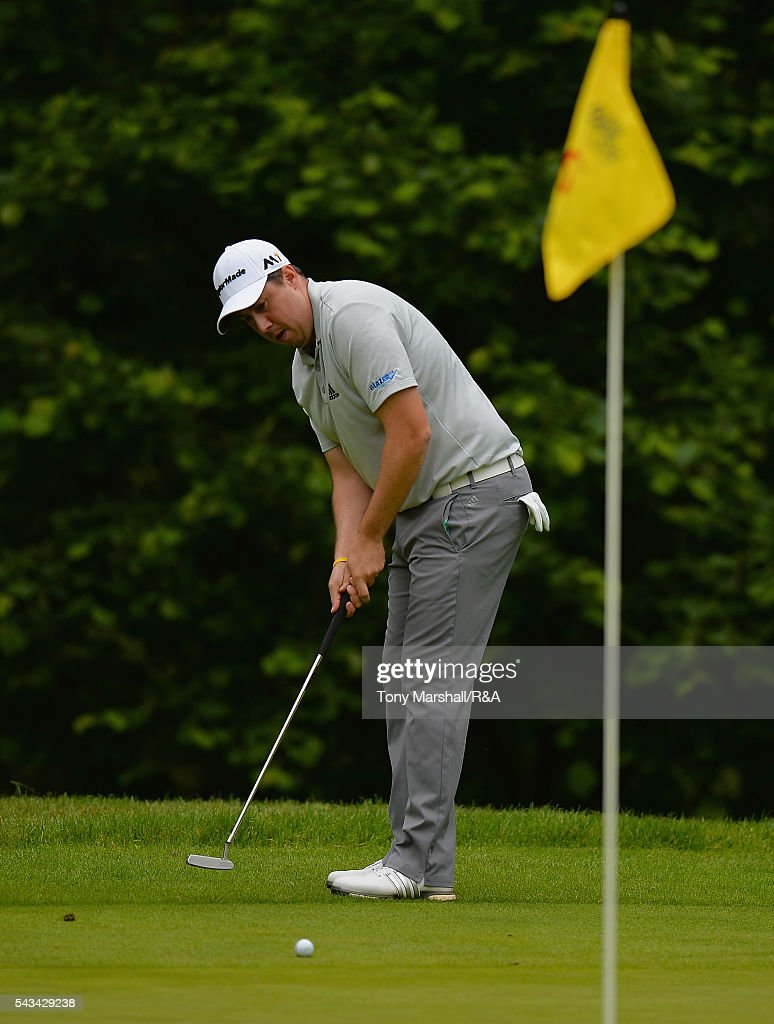 Ryan Evans of Wellingborough putts on the 6th green during the Open Championship Qualifying - Woburn at Woburn Golf Club on June 28, 2016 in Woburn, England.