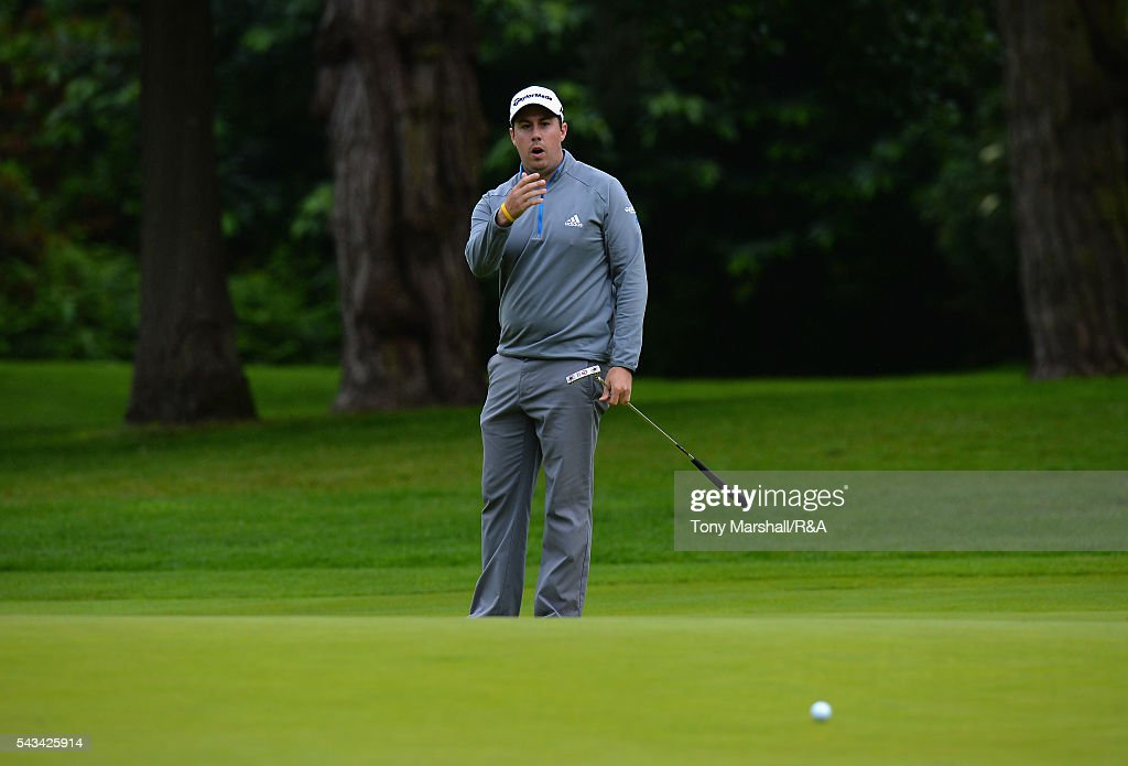 Ryan Evans of Wellingborough urges on his putt on the 18th green during the Open Championship Qualifying - Woburn at Woburn Golf Club on June 28, 2016 in Woburn, England.