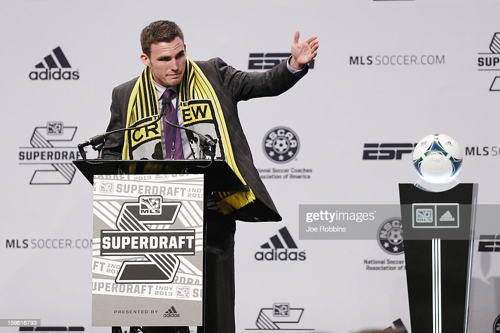 Ryan Finley of Notre Dame speaks after being selected by the Columbus Crew as the ninth overall pick in the 2013 MLS SuperDraft Presented by Adidas at the Indiana Convention Center on January 17, 2013 in Indianapolis, Indiana.