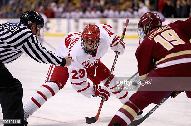 Ryan Fitzgerald of Boston College faces off with Jakob Forsbacka Karlsson Boston University during the first period of the Beanpot Tournament...