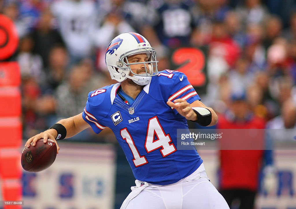 <a gi-track='captionPersonalityLinkClicked' href=/galleries/search?phrase=Ryan+Fitzpatrick&family=editorial&specificpeople=622098 ng-click='$event.stopPropagation()'>Ryan Fitzpatrick</a> #14 of the Buffalo Bills passes against the New England Patriots at Ralph Wilson Stadium on September 30, 2012 in Orchard Park, New York.New England won 52-28.