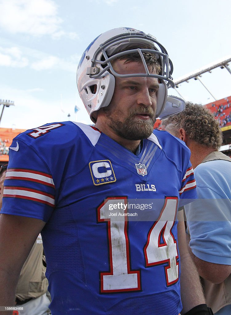 <a gi-track='captionPersonalityLinkClicked' href=/galleries/search?phrase=Ryan+Fitzpatrick&family=editorial&specificpeople=622098 ng-click='$event.stopPropagation()'>Ryan Fitzpatrick</a> #14 of the Buffalo Bills walks off the field after the game against the Miami Dolphins on December 23, 2012 at Sun Life Stadium in Miami Gardens, Florida. The Dolphins defeated the Bills 24-10.