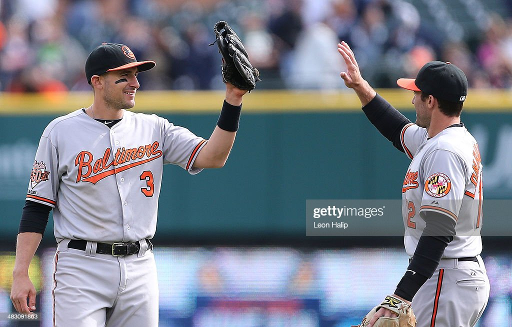 Ryan Flaherty #3 and Steve Lonbardozzi #12 of the Baltimore Orioles celebrate a win over the Detroit Tigers at Comerica Park on April 6, 2014 in Detroit, Michigan. The Orioles defeated the Tigers 3-1.