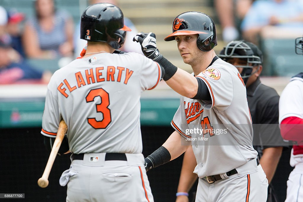 <a gi-track='captionPersonalityLinkClicked' href=/galleries/search?phrase=Ryan+Flaherty&family=editorial&specificpeople=4412528 ng-click='$event.stopPropagation()'>Ryan Flaherty</a> #3 celebrates with <a gi-track='captionPersonalityLinkClicked' href=/galleries/search?phrase=Nolan+Reimold&family=editorial&specificpeople=757348 ng-click='$event.stopPropagation()'>Nolan Reimold</a> #14 of the Baltimore Orioles after Remold hit a solo home run during the ninth inning against the Cleveland Indians at Progressive Field on May 29, 2016 in Cleveland, Ohio. The Orioles defeated the Indians 6-4.