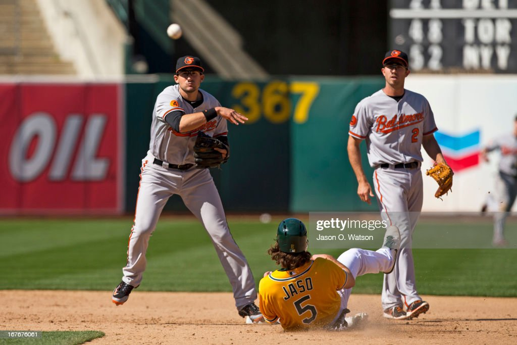 <a gi-track='captionPersonalityLinkClicked' href=/galleries/search?phrase=Ryan+Flaherty&family=editorial&specificpeople=4412528 ng-click='$event.stopPropagation()'>Ryan Flaherty</a> #3 of the Baltimore Orioles completes a double play over <a gi-track='captionPersonalityLinkClicked' href=/galleries/search?phrase=John+Jaso&family=editorial&specificpeople=4951282 ng-click='$event.stopPropagation()'>John Jaso</a> #5 of the Oakland Athletics to the end the game during the ninth inning at O.co Coliseum on April 27, 2013 in Oakland, California. The Baltimore Orioles defeated the Oakland Athletics 7-3.