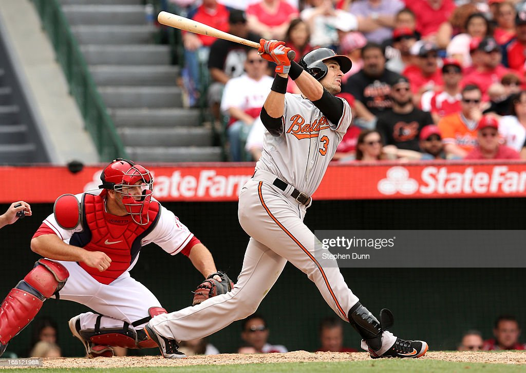 <a gi-track='captionPersonalityLinkClicked' href=/galleries/search?phrase=Ryan+Flaherty&family=editorial&specificpeople=4412528 ng-click='$event.stopPropagation()'>Ryan Flaherty</a> #3 of the Baltimore Orioles hits a two run single in the eighth inning against the Los Angeles Angels of Anaheim at Angel Stadium of Anaheim on May 5, 2013 in Anaheim, California.