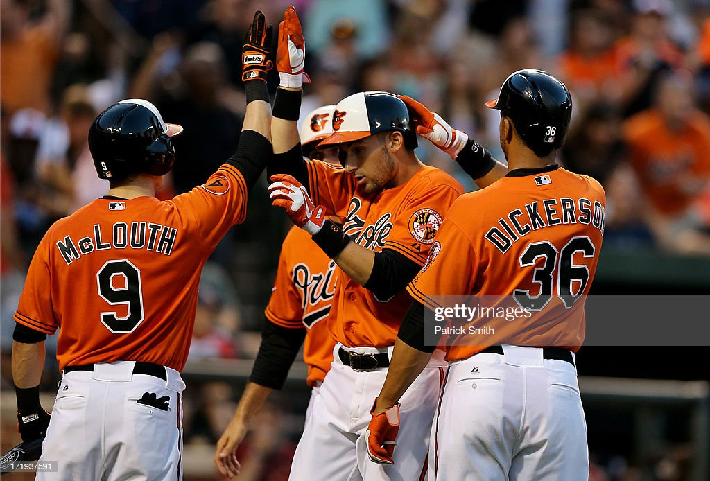 <a gi-track='captionPersonalityLinkClicked' href=/galleries/search?phrase=Ryan+Flaherty&family=editorial&specificpeople=4412528 ng-click='$event.stopPropagation()'>Ryan Flaherty</a> #3 of the Baltimore Orioles is greeted at home plate by teammates after hitting a three run home run in the third inning against the New York Yankees at Oriole Park at Camden Yards on June 29, 2013 in Baltimore, Maryland.
