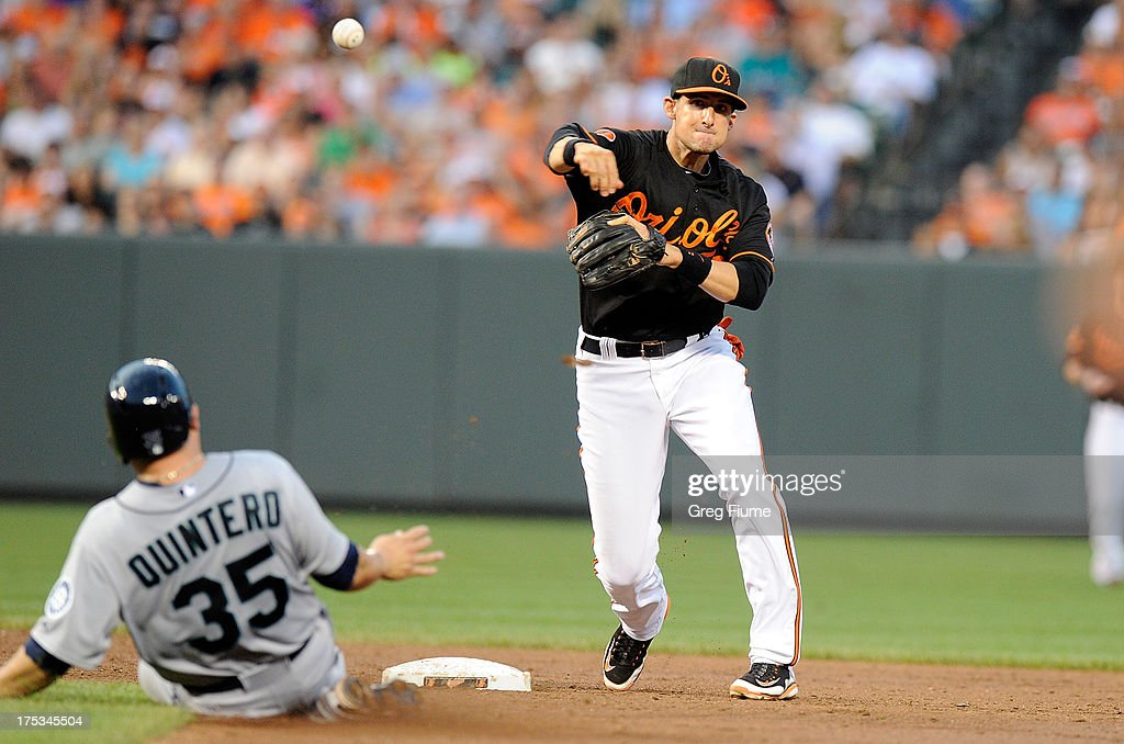 <a gi-track='captionPersonalityLinkClicked' href=/galleries/search?phrase=Ryan+Flaherty&family=editorial&specificpeople=4412528 ng-click='$event.stopPropagation()'>Ryan Flaherty</a> #3 of the Baltimore Orioles throws to first base after forcing out <a gi-track='captionPersonalityLinkClicked' href=/galleries/search?phrase=Humberto+Quintero&family=editorial&specificpeople=226980 ng-click='$event.stopPropagation()'>Humberto Quintero</a> #35 of the Seattle Mariners in the third inning at Oriole Park at Camden Yards on August 2, 2013 in Baltimore, Maryland.