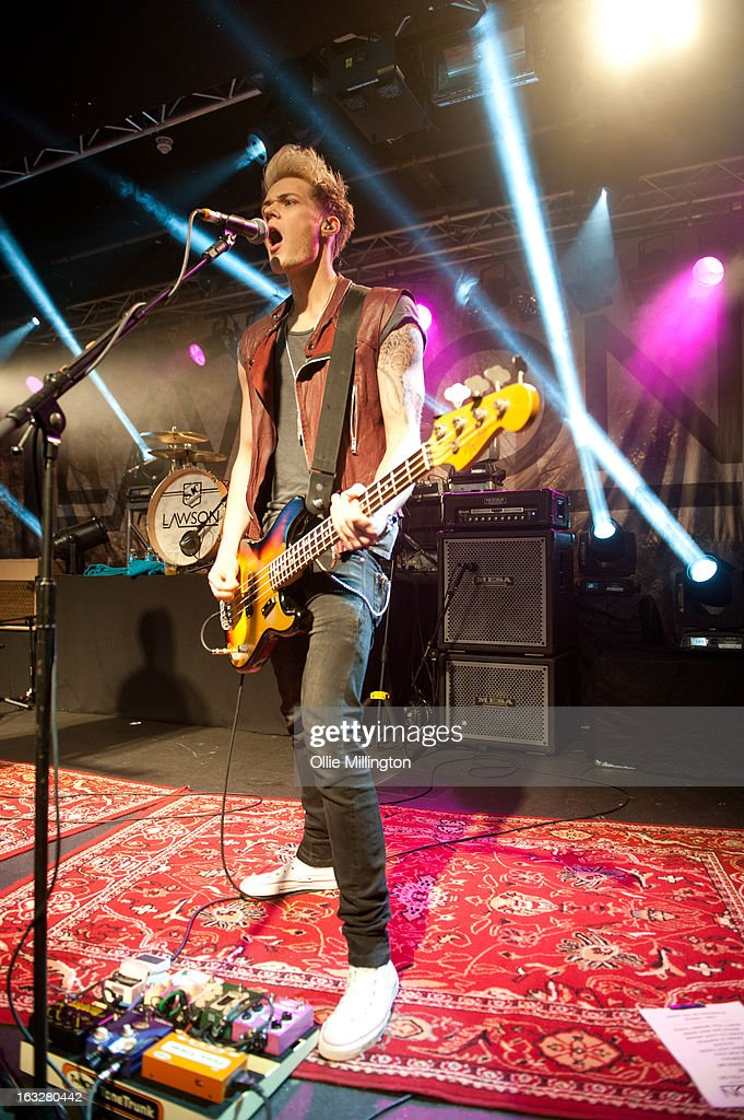 Ryan Fletcher of Lawson performs during a sold out show on their Chapman Square Tour at Rock City on March 6, 2013 in Nottingham, England.