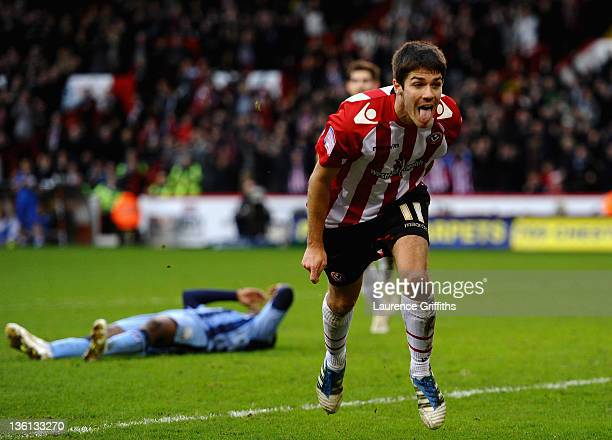 Ryan Flyn of Sheffield United celebrates scoring the equalising goal during the npower League One match between Sheffield United and Notts County at...