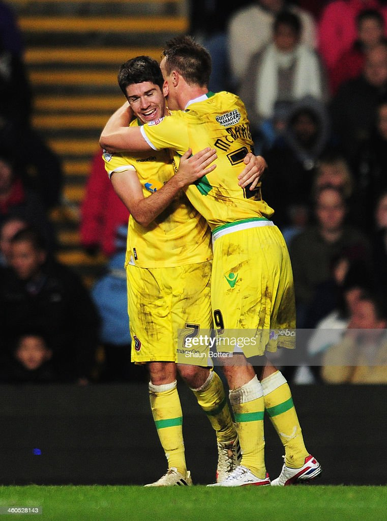 Ryan Flynn (L) of Sheffield United celebrates his goal with Tony McMahon during the Budweiser FA Cup third round match between Aston Villa and Sheffield United at Villa Park on January 4, 2014 in Birmingham, England.
