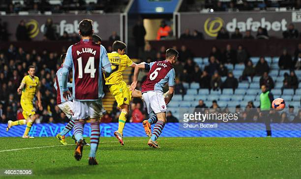 Ryan Flynn of Sheffield United scores his goal during the Budweiser FA Cup third round match between Aston Villa and Sheffield United at Villa Park...