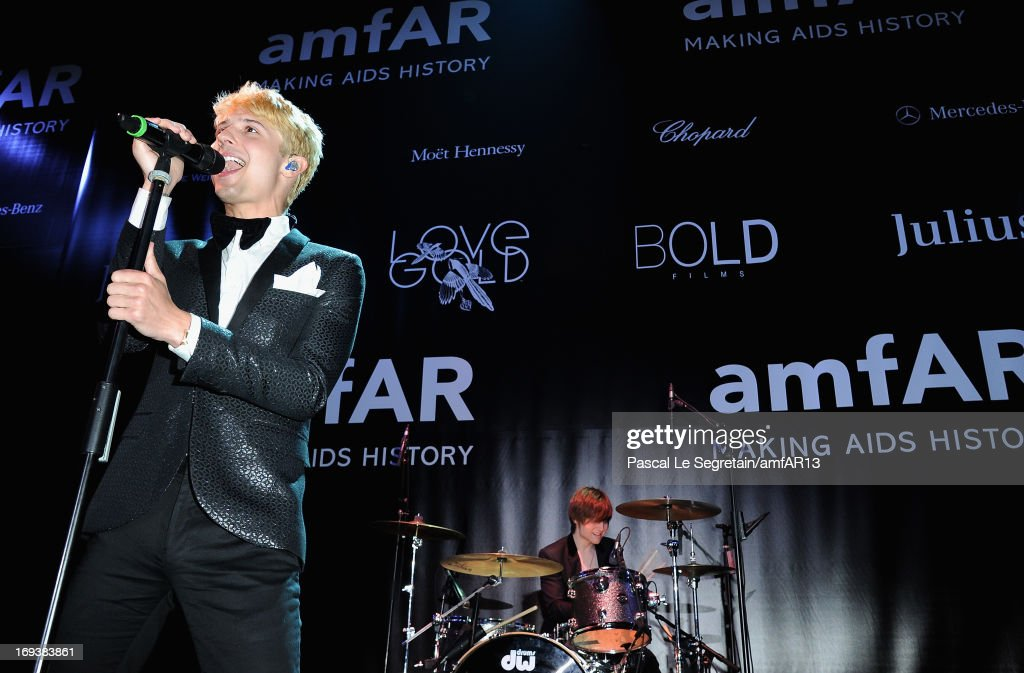 Ryan Follese of Hot Chelle Rae perform on stage at the amfAR's 20th Annual Cinema Against AIDS during The 66th Annual Cannes Film Festival at Hotel du Cap-Eden-Roc on May 23, 2013 in Cap d'Antibes, France.
