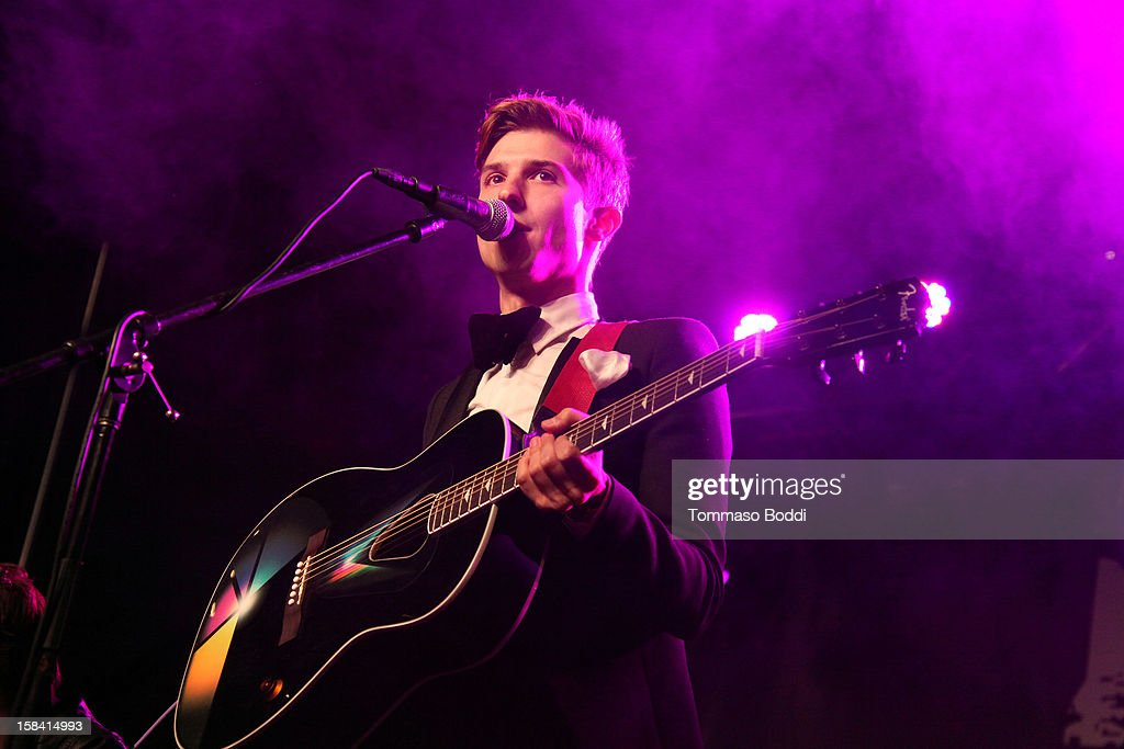 <a gi-track='captionPersonalityLinkClicked' href=/galleries/search?phrase=Ryan+Follese&family=editorial&specificpeople=8412836 ng-click='$event.stopPropagation()'>Ryan Follese</a> of Hot Chelle Rae performs at the Salvation Army's 3rd annual Rock the Red Kettle concert held at the Nokia Theatre L.A. Live on December 15, 2012 in Los Angeles, California.