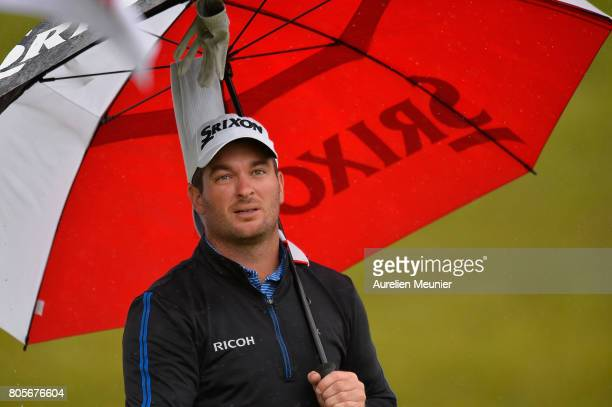 Ryan Fox of Great Britain reacts during day four of the HNA Open de France at Le Golf National on July 2 2017 in Paris France