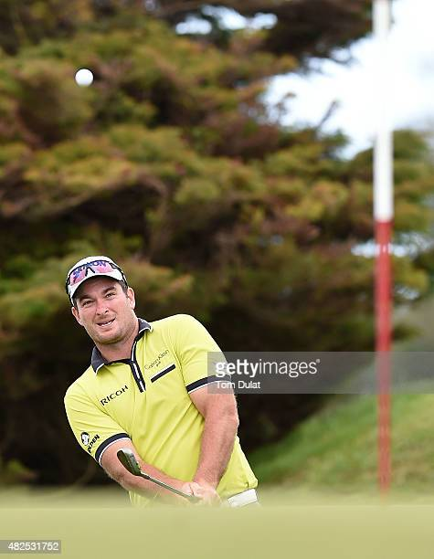 Ryan Fox of New Zealand chips onto the 10th green during day two of the Madeira Islands Open Portugal BPI at Club de Golf do Santo da Serra on July...