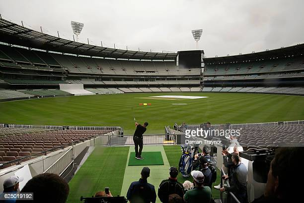 Ryan Fox of New Zealand hits a ball from the stands of the MCG at a taget on the field ahead of the 2016 World Cup of Golf at Kingston Heath Golf...