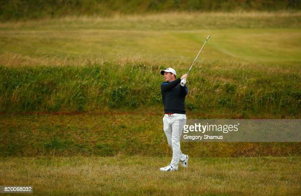 Ryan Fox of New Zealand hits his second shot on the 8th hole during the second round of the 146th Open Championship at Royal Birkdale on July 21 2017...