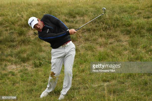 Ryan Fox of New Zealand hits his second shot on the 9th hole during the second round of the 146th Open Championship at Royal Birkdale on July 21 2017...