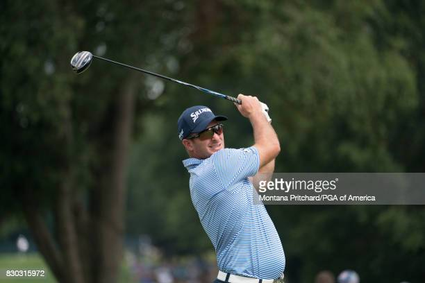 Ryan Fox of New Zealand hits his tee shot on the eighth hole during Round Two for the 99th PGA Championship held at Quail Hollow Club on August 11...