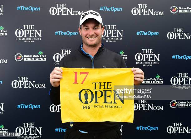 Ryan Fox of New Zealand is presented with his qualifying flag for The Open at Royal Birkdale following the Dubai Duty Free Irish Open hosted by the...