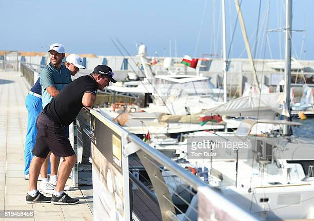 Ryan Fox of New Zealand Jordan Smith of England and Alexander Knappe of Germany in the marina during previews of the NBO Golf Classic Grand Final at...
