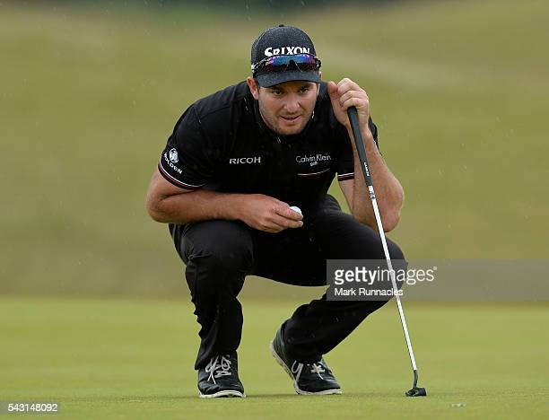 Ryan Fox of New Zealand lines up a putt on 18 during the final day of the 2016 SSE Scottish Hydro Challenge at the MacDonald Spey Valley Golf Course...