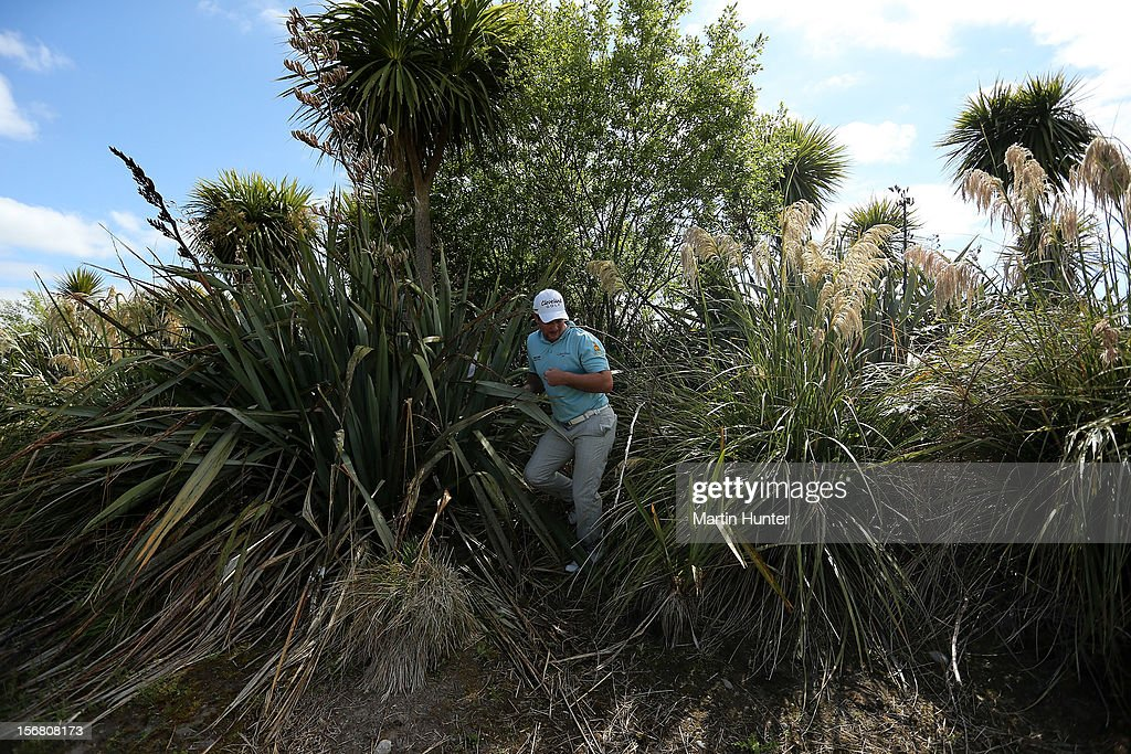 Ryan Fox of New Zealand looks for his ball in the rough during day one of the New Zealand Open at Clearwater Golf Course on November 22, 2012 in Christchurch, New Zealand.