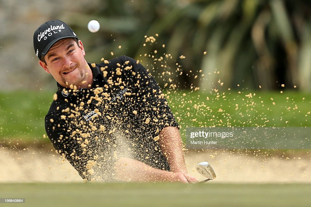 <a gi-track='captionPersonalityLinkClicked' href=/galleries/search?phrase=Ryan+Fox+-+Golfer&family=editorial&specificpeople=14840583 ng-click='$event.stopPropagation()'>Ryan Fox</a> of New Zealand plays a shot during day two of the New Zealand Open Championship at Clearwater Golf Course on November 23, 2012 in Christchurch, New Zealand.