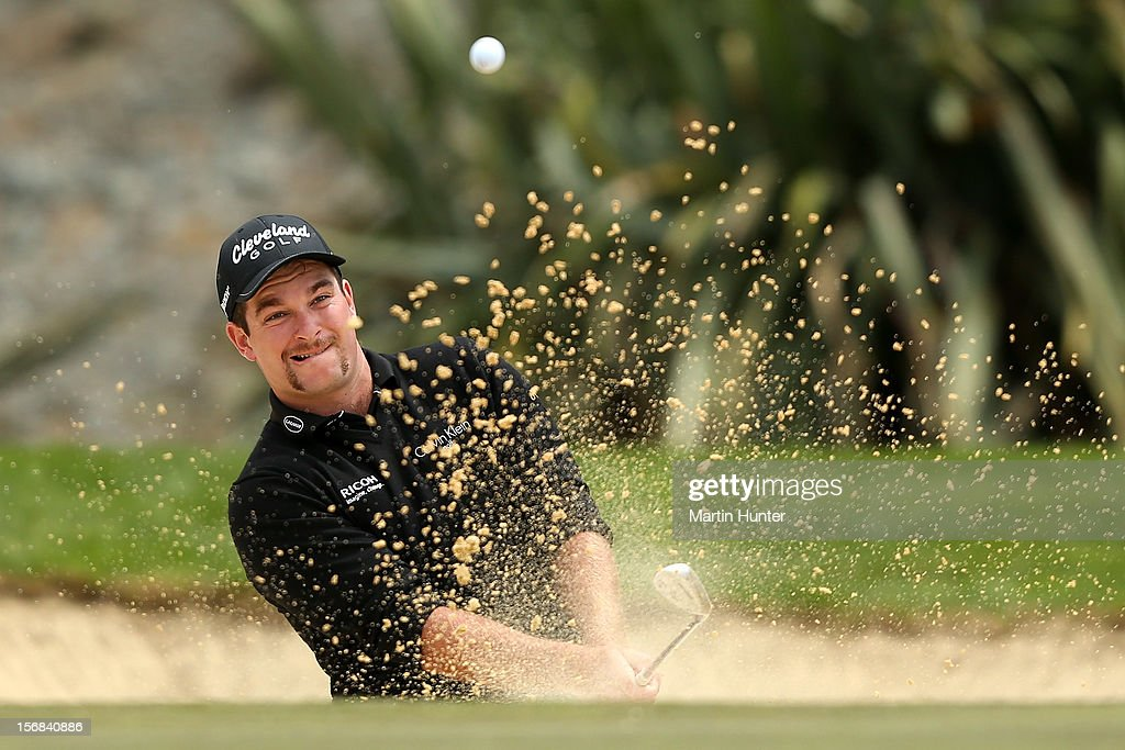 Ryan Fox of New Zealand plays a shot during day two of the New Zealand Open Championship at Clearwater Golf Course on November 23, 2012 in Christchurch, New Zealand.