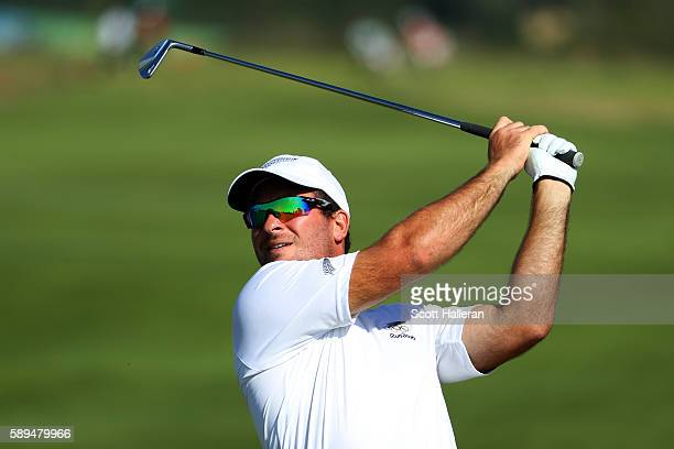 Ryan Fox of New Zealand plays a shot on the seventh hole during the final round of men's golf on Day 9 of the Rio 2016 Olympic Games at the Olympic...