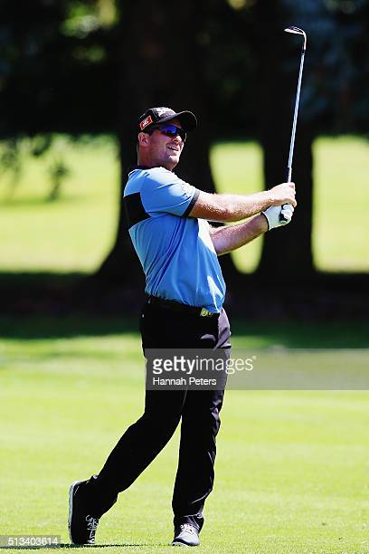 Ryan Fox of New Zealand plays an approach during the NZPGA Golf Championship at Remuera Golf Club on March 3 2016 in Auckland New Zealand
