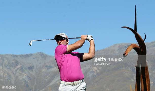 Ryan Fox of New Zealand plays an iron during day two of the 2016 New Zealand Open at The Hills on March 11 2016 in Queenstown New Zealand
