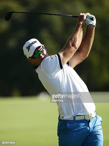 Ryan Fox of Australia plays his fairway shot on the 16th hole during day two of the Australian Open at Royal Sydney Golf Club on November 18 2016 in...