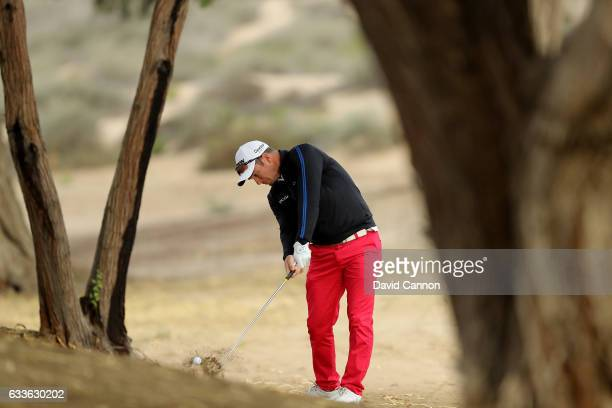 Ryan Fox of New Zealand plays his second shot on the third hole during the second round of the 2017 Omega Dubai Desert Classic on the Majlis Course...
