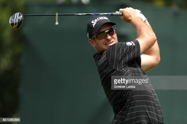 Ryan Fox of New Zealand plays his shot from the first tee during the final round of the 2017 PGA Championship at Quail Hollow Club on August 13 2017...