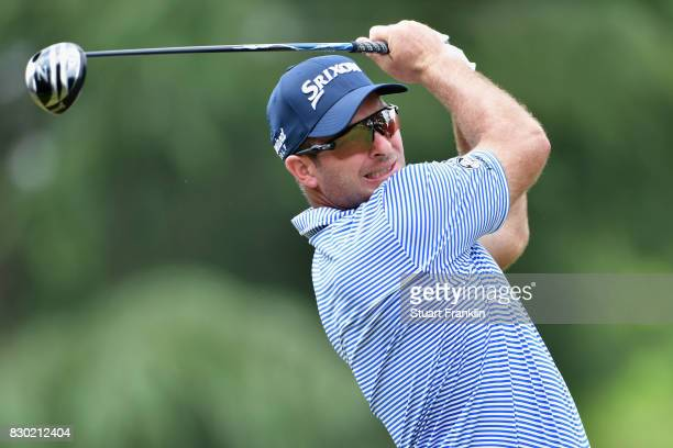 Ryan Fox of New Zealand plays his shot from the ninth tee during the second round of the 2017 PGA Championship at Quail Hollow Club on August 11 2017...