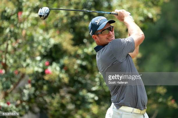 Ryan Fox of New Zealand plays his shot from the second tee during the third round of the 2017 PGA Championship at Quail Hollow Club on August 12 2017...