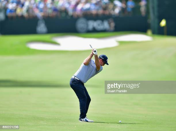 Ryan Fox of New Zealand plays his shot on the seventh hole during the second round of the 2017 PGA Championship at Quail Hollow Club on August 11...