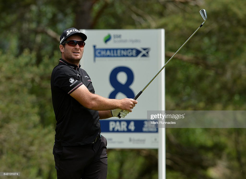 <a gi-track='captionPersonalityLinkClicked' href=/galleries/search?phrase=Ryan+Fox+-+Golfer&family=editorial&specificpeople=14840583 ng-click='$event.stopPropagation()'>Ryan Fox</a> of New Zealand Tee shot at the 8th during the final day of the 2016 SSE Scottish Hydro Challenge at the MacDonald Spey Valley Golf Course on June 26, 2016 in Aviemore, Scotland.
