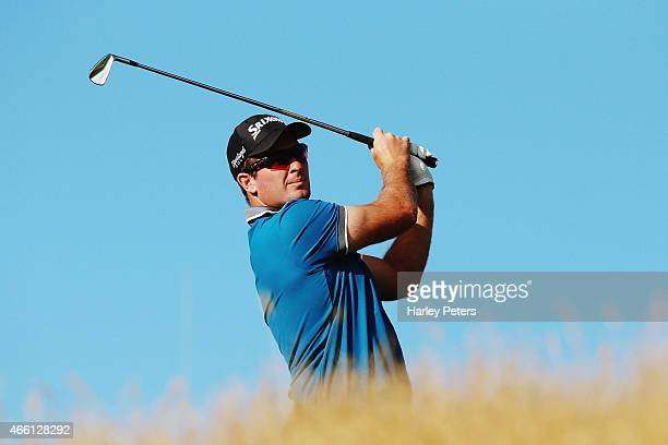 Ryan Fox of New Zealand tees off during day three of the New Zealand Open at The Hills Golf Club on March 14 2015 in Queenstown New Zealand