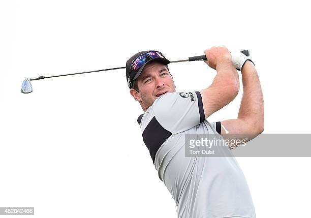 Ryan Fox of New Zealand tees off from the 1st hole during day three of the Madeira Islands Open Portugal BPI at Club de Golf do Santo da Serra on...
